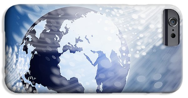 Data Photographs iPhone Cases - Globe With Fiber Optics iPhone Case by Setsiri Silapasuwanchai
