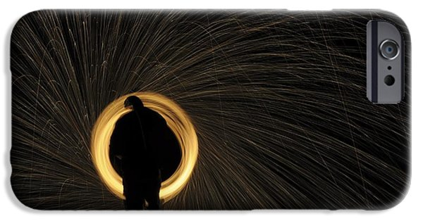 Fireworks iPhone Cases - Glowing Spark Spiral iPhone Case by Photostock-israel