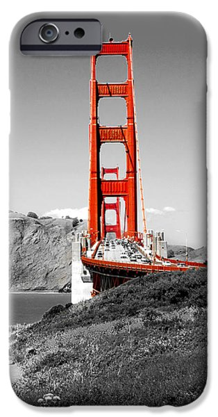 Red And Black iPhone Cases - Golden Gate iPhone Case by Greg Fortier