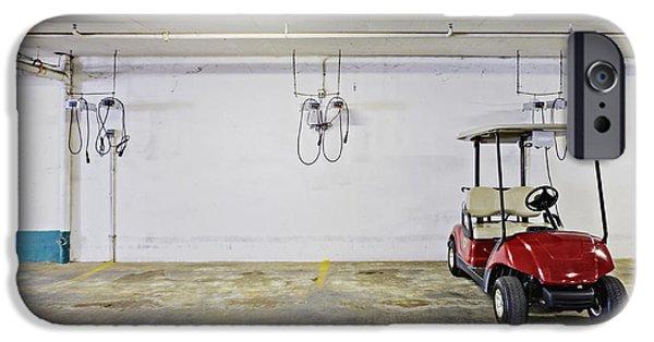 Basement iPhone Cases - Golf Cart Parking Garage iPhone Case by Skip Nall