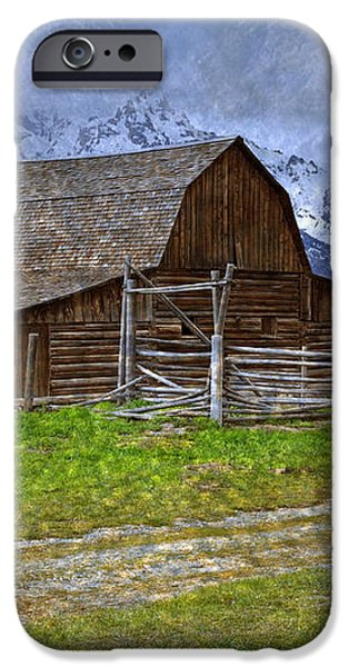 Grand Teton Iconic Mormon Barn Fence Spring Storm Clouds iPhone Case by John Stephens