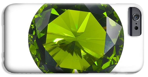 Close Up Jewelry iPhone Cases - Green Gem Isolated iPhone Case by Atiketta Sangasaeng