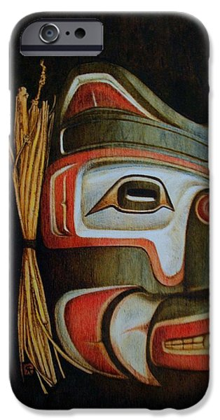 Nation Pyrography iPhone Cases - Haida Mask iPhone Case by Cynthia Adams