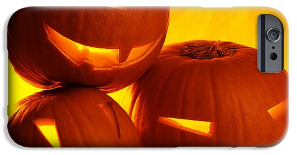 Night Lamp iPhone Cases - Halloween pumpkins iPhone Case by Anna Omelchenko