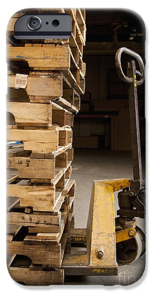 Hand Truck and Wooden Pallets iPhone Case by Shannon Fagan