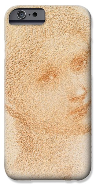 Pastel Drawings iPhone Cases - Head Study of a Girl iPhone Case by Sir Edward Burne-Jones