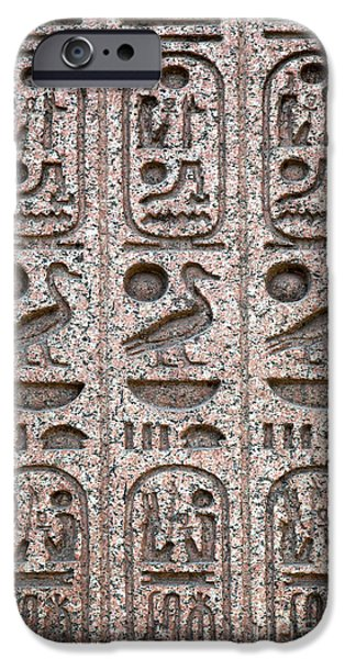 Archaeology iPhone Cases - Hieroglyphs on ancient carving iPhone Case by Jane Rix