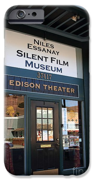 Historic Niles District in California Near Fremont . Niles Essanay Silent Film Museum Edison Theater iPhone Case by Wingsdomain Art and Photography