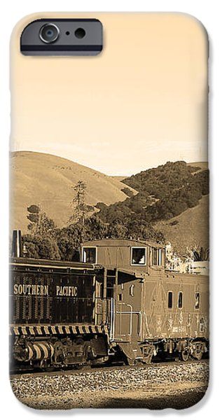Historic Niles Trains in California.Southern Pacific Locomotive and Sante Fe Caboose.7D10819.sepia iPhone Case by Wingsdomain Art and Photography