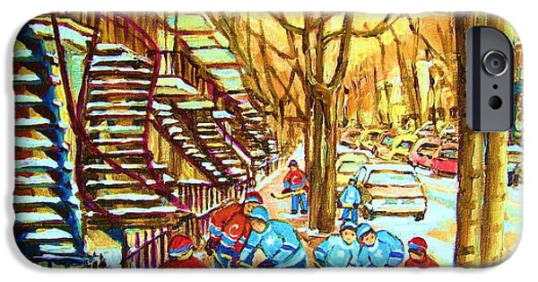 Snowy Day Paintings iPhone Cases - Hockey Game near Winding Staircases iPhone Case by Carole Spandau