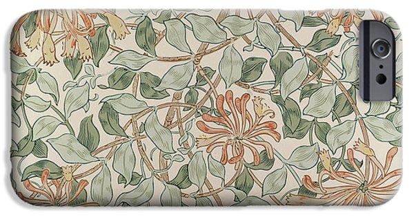 Pattern Tapestries - Textiles iPhone Cases - Honeysuckle Design iPhone Case by William Morris