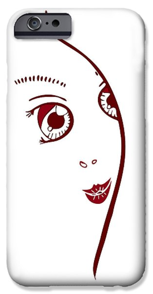 Abstract Fashion Art iPhone Cases - Illustration Of A Fashion Model iPhone Case by Frank Tschakert