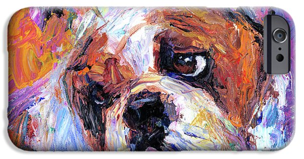 Artwork Drawings iPhone Cases - Impressionistic Bulldog painting  iPhone Case by Svetlana Novikova