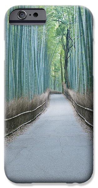 Bamboo Fence iPhone Cases - Japan Kyoto Arashiyama Sagano Bamboo iPhone Case by Rob Tilley