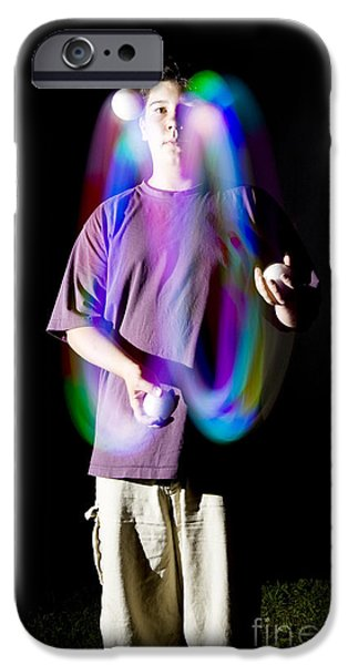 Juggling Photographs iPhone Cases - Juggling Light-up Balls iPhone Case by Ted Kinsman