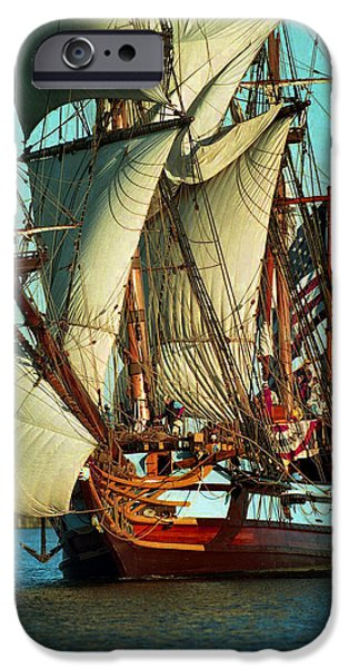 Tall Ship iPhone Cases - Kalmar Nyckel Under Sail iPhone Case by Skip Willits