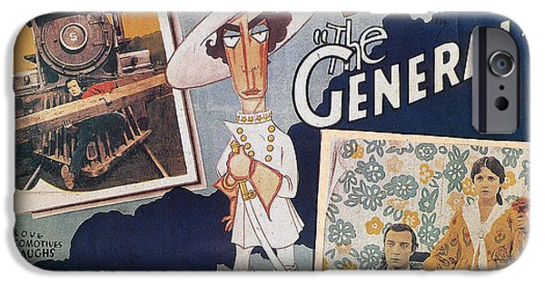 Caricature Posters iPhone Cases - Keaton: The General, 1927 iPhone Case by Granger