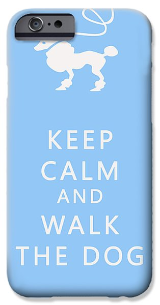 Dog iPhone Cases - Keep Calm and Walk The Dog iPhone Case by Nomad Art And  Design
