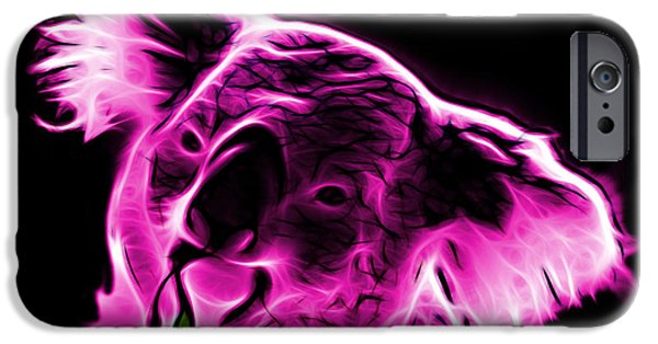 Koala Digital Art iPhone Cases - Koala Pop Art - Magenta iPhone Case by James Ahn