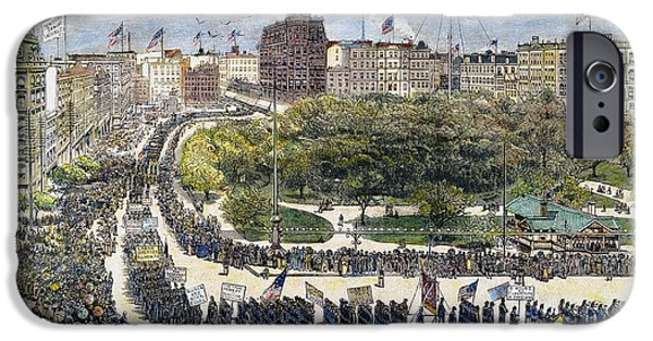 Union Square iPhone Cases - Labor Day Parade, 1882 iPhone Case by Granger