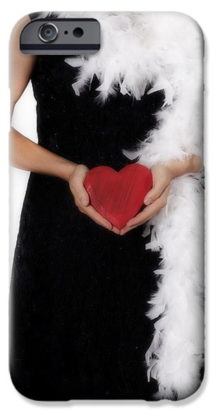 Feathered Hat iPhone Cases - Lady With Heart iPhone Case by Joana Kruse