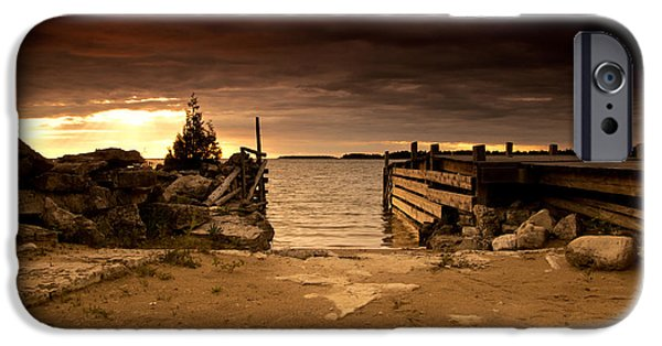 Great Lakes iPhone Cases - Lake Huron Dock iPhone Case by Cale Best