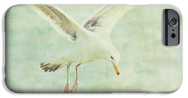 Flying Seagull iPhone Cases - Landing iPhone Case by Rebecca Cozart