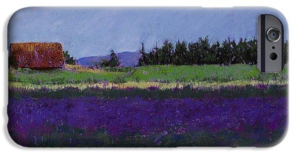 Barn Landscape Pastels iPhone Cases - Lavender Farm iPhone Case by David Patterson