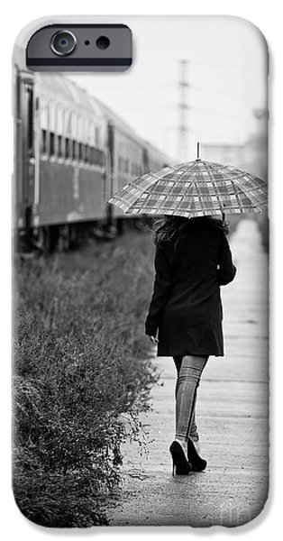 Rainy Day iPhone Cases - Leaving iPhone Case by Gabriela Insuratelu