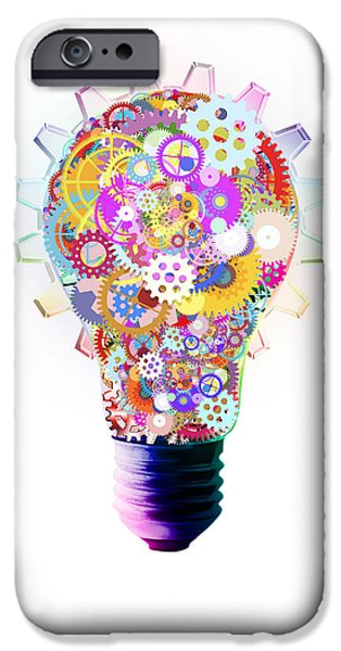 Business Digital Art iPhone Cases - Light Bulb Design By Cogs And Gears  iPhone Case by Setsiri Silapasuwanchai