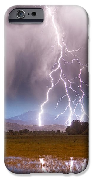 Lightning Striking Longs Peak Foothills 6 iPhone Case by James BO  Insogna