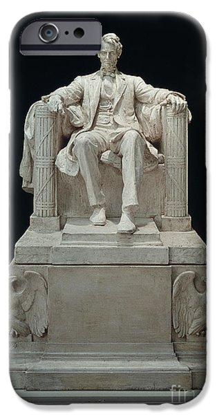 Statue Portrait iPhone Cases - Lincoln Memorial: Statue iPhone Case by Granger