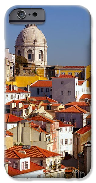 Rooftop iPhone Cases - Lisbon View iPhone Case by Carlos Caetano