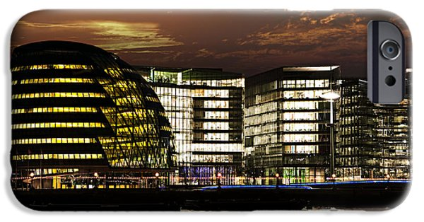 River View iPhone Cases - London city hall at night iPhone Case by Elena Elisseeva