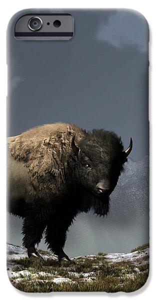 Lonely Bison iPhone Case by Daniel Eskridge