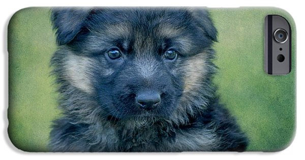 Puppy Digital iPhone Cases - Long Coated Puppy iPhone Case by Sandy Keeton