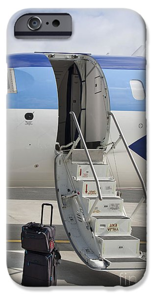 Airline Industry iPhone Cases - Luggage Near Airplane Steps iPhone Case by Jaak Nilson