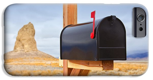 Us Postal Service iPhone Cases - Mailbox in Desert iPhone Case by David Buffington