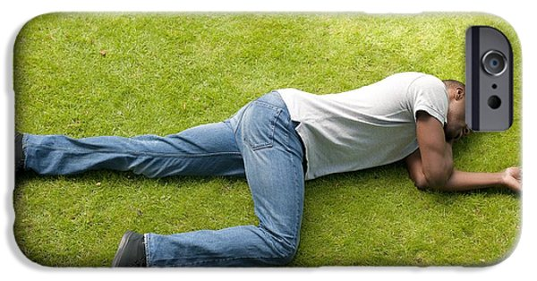 Man Looking Down iPhone Cases - Man In Recovery Position iPhone Case by