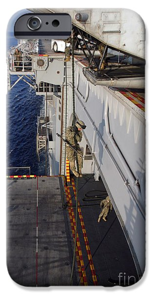 Marines And Sailors Fast-rope iPhone Case by Stocktrek Images