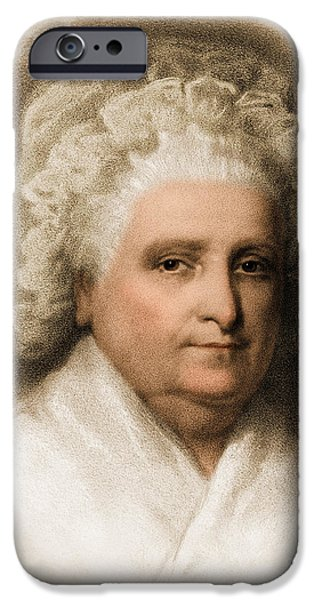 Lady Washington iPhone Cases - Martha Washington, American Patriot iPhone Case by Photo Researchers
