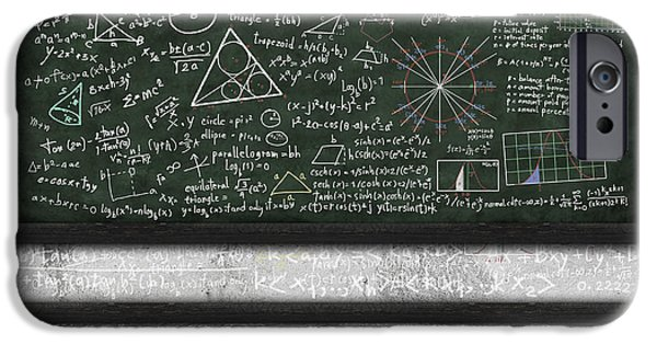 Backgrounds Pastels iPhone Cases - Maths Formula On Chalkboard iPhone Case by Setsiri Silapasuwanchai