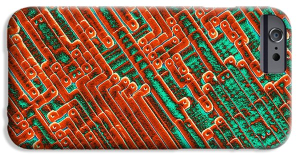 Integrated Photographs iPhone Cases - Microchip Circuitry, Sem iPhone Case by Power And Syred