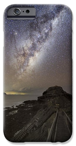 Moonlit Night Photographs iPhone Cases - Milky Way Over Cape Schanck, Australia iPhone Case by Alex Cherney, Terrastro.com