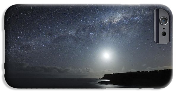Moonlit Night Photographs iPhone Cases - Milky Way Over Mornington Peninsula iPhone Case by Alex Cherney, Terrastro.com