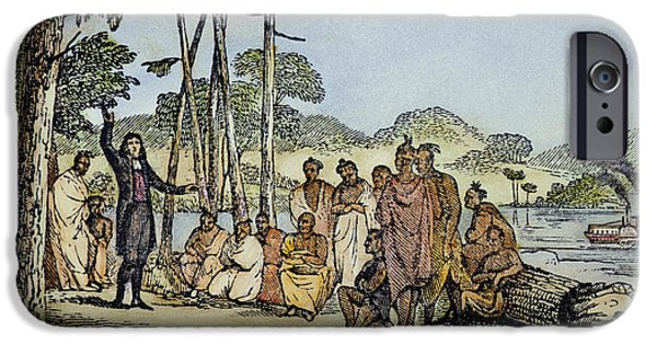 1850s iPhone Cases - Missionary And Native Americans iPhone Case by Granger