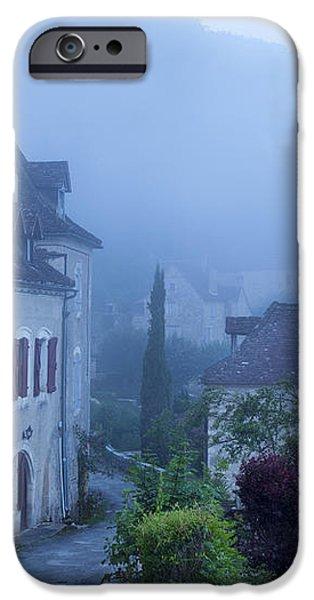 Misty dawn in Saint Cirq Lapopie iPhone Case by Brian Jannsen