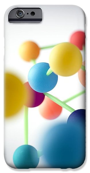 Atom Photographs iPhone Cases - Molecular Structure iPhone Case by Tek Image