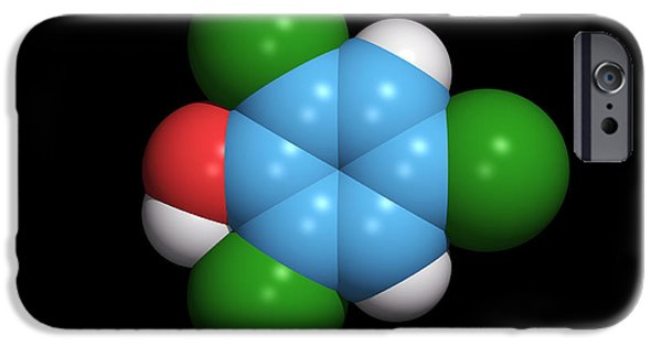 Component iPhone Cases - Molecule Of A Component Of Tcp Antiseptic iPhone Case by Dr Tim Evans