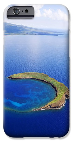 Shore Excursion iPhone Cases - Molokini Aerial iPhone Case by Ron Dahlquist - Printscapes